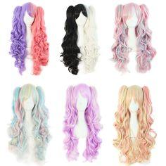 Sintética resistente ao calor ondulado longo lolita rabos de cavalo peruca rosa roxo perucas curly lolita anime peruca cosplay perucas de cabelo para as mulheres 2016
