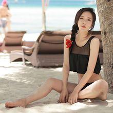 2016 Caliente de Calidad Superior de Las Colmenas Mujeres Bikini Sin Tirantes del traje de Baño traje de Baño Biquini Traje de baño Sólido Bajo La Cintura de Fondo de Malla Negro(China (Mainland))