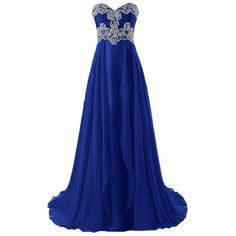 Ivydressing Long Empire Sweetheart Evening Dresses Rhinestoned Formal... ($146) ❤ liked on Polyvore featuring dresses, gowns, formal evening dresses, blue party dress, long evening dresses, formal gowns and blue long dress