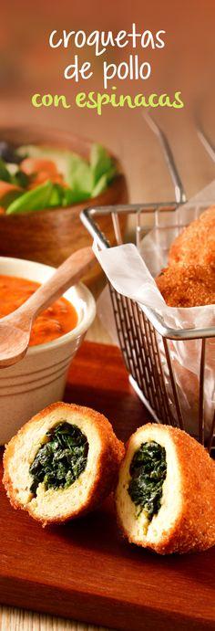 Deliciosas croquetas de pollo rellenas de espinacas salteadas. Si a tu familia le gusta el pollo frito, esta receta económica les gustará más. ¡Prepáralas este #diadelniño!