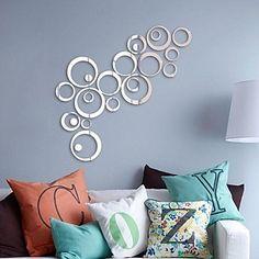 Mirror Wall Stickers Wall Decals, DIY Circle Mosaic Mirror Acrylic Wall Stickers(60*40) – USD $ 9.99