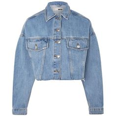 Topshop Moto Hacked Off Crop Denim Jacket ($59) ❤ liked on Polyvore featuring outerwear, jackets, mid stone, topshop jackets, cropped jean jacket, oversized jacket, cropped denim jacket and oversized jean jacket