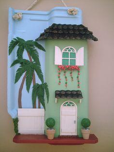 casinha verde - by Arte e telhas artesanatos