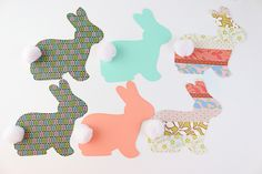 Simple Bunny Garland cut with the Silhouette Craft Box, Craft Ideas, Bunny Birthday, Pen Pals, Silhouette Cameo Machine, Easter Parade, All Holidays, Silhouette Projects, Card Designs
