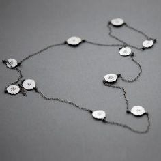 Handmade by Rita Rodner. Jewelry Art, Jewelry Necklaces, Jewellery, Flower Shape, Contemporary Art, Dangles, Silver, Handmade, Chains