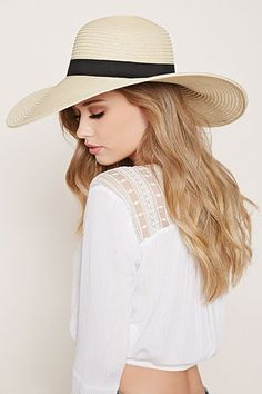 Grosgrain-Band Floppy Straw Hat | Forever 21 Canada