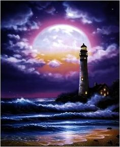 Lighthouse Of Dreams Mural - Steve Cool Pictures, Beautiful Pictures, Lighthouse Painting, Lighthouse Storm, Lighthouse Pictures, Nautical Art, Beautiful Moon, Light Of The World, Seascape Paintings