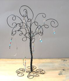 Wire Jewelry Organizer Tree Stand Earring by TillaGarden on Etsy
