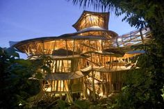 [Image] | This Six-Story Bamboo Village Takes Tree Houses To A Whole... - TIMEWHEEL