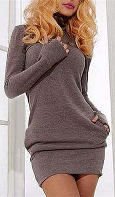 Specification: Product Details Style Brief Material Spandex Silhouette Sheath Dresses Length Mini Neckline Turtleneck Sleeve Length Long Sleeves Waist Natural Embellishment Pleated Pattern Type Solid Brown Sweatshirt Dress- Size M-New🌻 🌻 Comfy Fall Outfits, Cute Outfits, Fashion Outfits, Womens Fashion, Fashion Trends, Looks Chic, Inspiration Mode, Sweatshirt Dress, Pulls