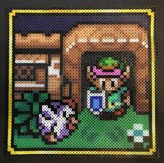 Zelda-Szene, Artkal und Perler Minis, das Bügeln ging etwas schief, aber naja...das nächste wird besser...