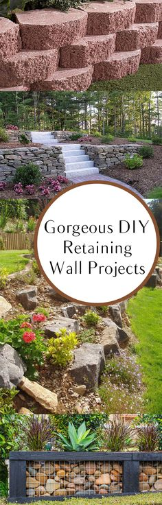 Gorgeous DIY Retaining Wall Projects - love the last pic Diy Garden, Dream Garden, Lawn And Garden, Garden Ideas, Patio Ideas, Backyard Projects, Outdoor Projects, Garden Projects, Diy Projects