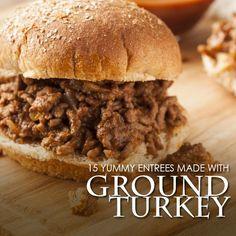 15 Yummy Entrees Made with Ground Turkey!  #groundturkey #lowcalorie #lowfat