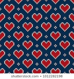 Valentine's Day Holiday Seamless Knit Pattern with Hearts. Scheme for Knitted Sweater Pattern Design or Cross Stitch Embroidery Tapestry Crochet Patterns, Fair Isle Knitting Patterns, Crochet Stitches Patterns, Knitting Charts, Counted Cross Stitch Patterns, Cross Stitch Designs, Cross Stitch Embroidery, Crochet Pixel, Crochet Cord
