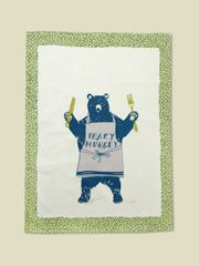 beary hungry tea towel