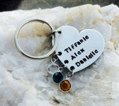 Mommy key chain or necklace with names and by HandStampedByDani, $25.00