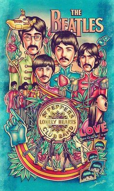 ☮ American Hippie Art ☮ Beatles music concert poster