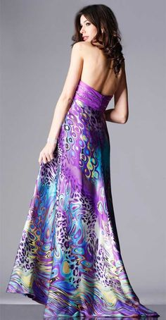 Long formal dress purple style 1436 with center slit