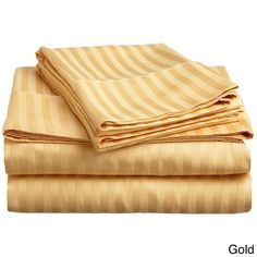 Darby Home Co Rieger 300 Thread Count Premium Long-Staple Combed Cotton Stripe Waterbed Queen Sheet Set Color: Gold 100 Cotton Sheets, Cotton Sheet Sets, Bed Sheets, Pottery Barn, Egyptian Cotton Bedding, Shabby, Water Bed, Deep Pocket Sheets, Waterbed