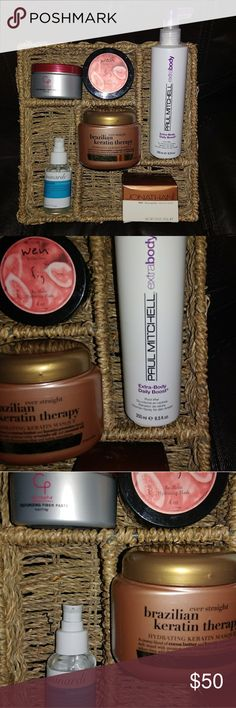 Haircare Bundle Paul Mitchell 8.5oz Extra Body Daily Boost Minardi Glisten Color Reflecting Drops 1.7oz Jonathan Dirt Texturing Paste 3.35oz Brazilian Keratin Therapy 8fl oz Wen Fig Hydrating Re Moist Mask 4oz Cristophe Texturing Fiber Paste All have been tested and not for me Retail price 100+ Various Makeup