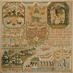 This is one of three similar samplers (the other two are in private collections) that can be traced to girls who lived in the Franklin/Norwich area of Connecticut. Illustrated with exotic scenes of faraway lands, they are some of the most unusual samplers stitched by early nineteenth-century schoolgirls. Laura Hyde embroidered her sampler with images of India that she probably copied from a history or geography text.