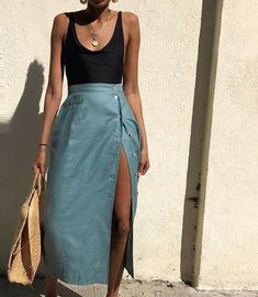Teal 100 linen skirt with side buttons Size 28 waist- looks great on smaller frames as well 78 dm to purchase SOLD Mode Outfits, Skirt Outfits, Fashion Outfits, Womens Fashion, Fashion Trends, Maxi Skirt Outfit Summer, Fashion Games, 80s Fashion, Hijab Fashion