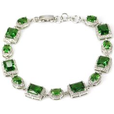 Sterling Silver Green Emerald Gemstoe Bracelet With AAA CZ Accents by Dazzlegoods on Etsy