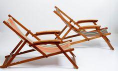 Designer onbekend - 2x luxe strandstoelen met armleuningen