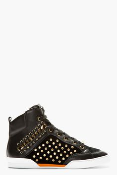 Versace Black Eyelet Chain Embellished High-top Sneakers for men | SSENSE