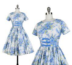 Flores de Francia Dress / Vintage 1950s Full Skirt by NovaVintage, $248.00