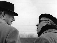 """Vittorio De Sica e Cesare Zavattini durante i sopralluoghi per il film """"Il tetto"""", 1955-56 Italian Neorealism, Film, Movie, Film Stock, Cinema, Films"""