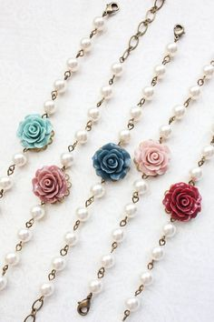 Bridemaids Bracelet Navy Blue Rose Bracelet with pearls Teal Rose Antique Dusty Rose Flower Bracelet