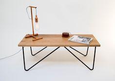 Oak coffee table with asymmetrical matt black hairpin legs by Kodastudios on Etsy https://www.etsy.com/listing/199424364/oak-coffee-table-with-asymmetrical-matt