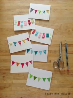 Welcome to finish it up Friday! These bunting cards are practical, scrappy, and quick to finish. Three of my favorite characteristics of a project. :) says crazymomquilts