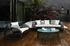 Lolah outdoor set from Kenneth Cobonpue. Lolah makes use of traditional materials and expert craftsmanship to create a stunning structure of rattan. Available at IDUS Furniture Store, New Delhi, India.