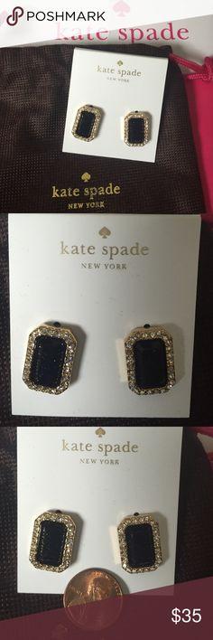 NWT Dark blue rectangle Kate Spade earrings Glittery dark blue (almost black) rectangle earrings kate spade Jewelry Earrings