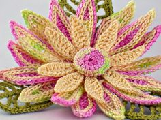 Crochet Brooch Irish Crochet Pin Daisy Pink Yellow Chartreuse Green