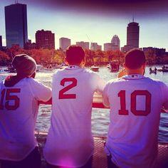 Dustin Pedroia, Jacoby Ellsbury & John McDonald - Boston Globe. Red Sox World Series Champs Rolling Rally (Duck Boat Parade) 11/2/2013