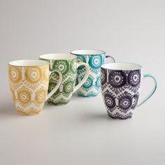One of my favorite discoveries at WorldMarket.com: Painterly Geo Mugs, Set of 4