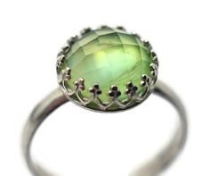 Large Prehnite Ring Natural Gemstone Ring Green by fifthheaven, $114.00