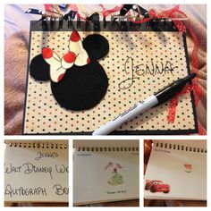 Homemade Disney Autograph Book! So easy: sketchbook (journal size) from Walmart art section, stickers, scrapbook paper, felt, ribbon, rubber cement & glue dots. We used retractable sharpie as suggested by other pinners. Love them!! Price about $8 each instead of $20+ woohoo!