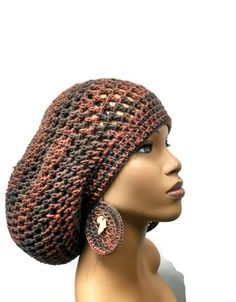 MADE TO ORDER Crochet Earth Tones Slouch hat/ by ScarFanatic