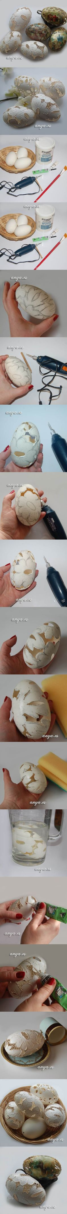 DIY Carved Lace Easter Eggs | iCreativeIdeas.com Like Us on Facebook ==> https://www.facebook.com/icreativeideas
