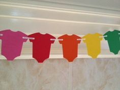 Baby Shower Decor Rainbow Baby One-Piece Garland by PaperStrip