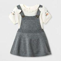 5a1fd8b3ce8 Baby Girls  Short Sleeve Bodysuit with Sweater Skirtall - Cat  amp  Jack™  Cream