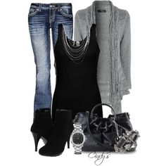 Without the accessories or shoes and make the denim same wash but jeggings with knee high heeled boots