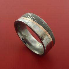 Damascus Steel Diagonal 14K Rose Gold Ring by StonebrookJewelry, $524.92