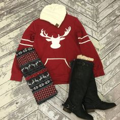 We're obsessed with reindeer this holiday season! Cuddle up with our fur lined leggings and fleecy hoodieto keep warm and stay fabulous this season.