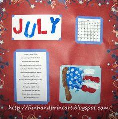 Handprint Flag for July- Handprint Calendar - Fun Handprint Art Daycare Crafts, Preschool Crafts, Preschool Ideas, Teaching Ideas, Daycare Ideas, Kids Daycare, Fall Preschool, Preschool Lessons, Patriotic Crafts