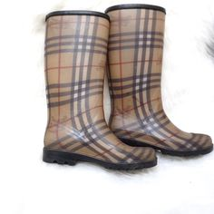 Burberry Rainboots ☔️ Tall Burberry Nova Check Rainboots   100% authentic   previously loved, but in great condition  They run BIG, I am a size 6.5 and they fit perfectly   pls make all offers via the offer button!  no trades, PP or Mercari  Burberry Shoes Winter & Rain Boots